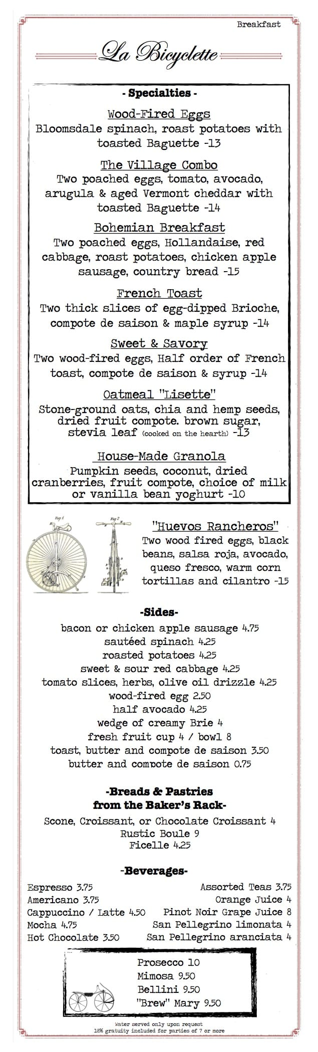 La Bicyclette Breakfast